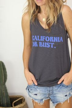 California or Bust Racer Back tank / charcoal from ascot   hart
