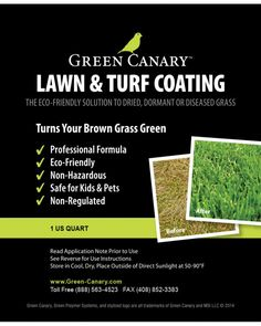 These are some features & benefits of Green Canary Grass Colorant: Non-toxic formulation, No VOC's, Safe for pets & children, Drought compliant solution-can eliminate watering, Aesthetic improvement of dried lawn, Weed and growth control, Realtor solution for landscape staging of distressed properties, Improved neighborhood property values, Minimal maintenance required, Long lasting, Fire prevention for high vegetation and weed growth control, Erosion control, Reduced seasonal allergies from…