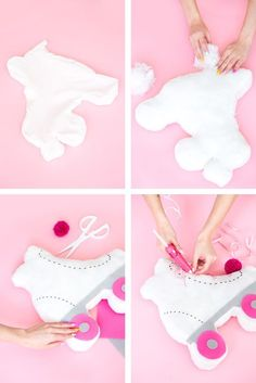 Cheap Craft Ideas For Kids Felt Crafts Diy, Felt Diy, Cute Crafts, Crafts For Kids, Fluffy Pillows, Diy Pillows, Throw Pillows, Roller Skating Party, Skate Party