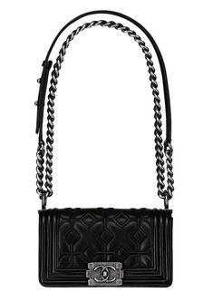 Black embossed leather BOY CHANEL bag