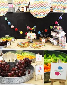 "Josie would love a party like this the way she is with all her ""craft"" items. Love the use of the galvanized tins."