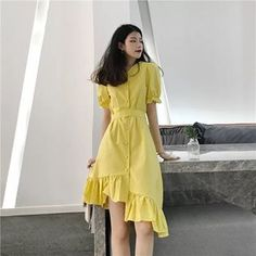 Image may contain: 1 person, standing Modest Fashion, Skirt Fashion, Fashion Dresses, Summer Outfits Women, Trendy Outfits, Plain Dress, Outerwear Women, Yellow Dress, Simple Dresses