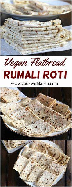 ROTI Rumali Roti is a vegan, soft and thin tasty flatbread popular across India. It is super easy to make.Rumali Roti is a vegan, soft and thin tasty flatbread popular across India. It is super easy to make. Yummy Recipes, Baking Recipes, Whole Food Recipes, Yummy Food, Chapati, Vegan Indian Recipes, Vegan Recipes, Vegan Roti Recipe, Rumali Roti Recipe