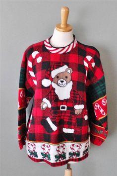 Vtg Ugly Christmas Sweater Men women L teddy bear Santa black jumper CS27 #HolidayTime #Crewneck