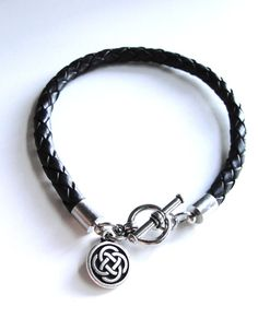 Celtic Knot Braided Leather bracelet by JewelryByMaeBee on Etsy, $24.00