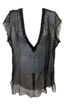 """""""Beyond Vintage 'Sheer Metallic-Dot Top'"""" by taught-to-fly19 on Polyvore featuring moda e vintage"""