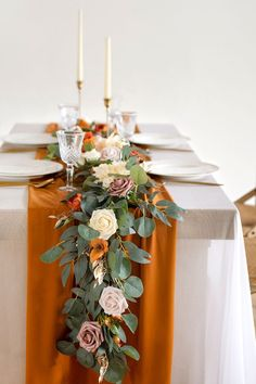 Thanksgiving Wedding, Thanksgiving Ideas, Willow Leaf, Terracota, Leaf Flowers, Flower Garlands, Brides And Bridesmaids, Fall Wedding Table Decor, Diy Wedding Table Decorations