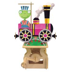 Automata 3D Wooden Moving Model Kit - Phileas Frog, Around the Word in 80 Days – Locomotive  Enjoy time with you child showing them the wonders of Art and Engineering, building a functional Automata to inspire their creativity, and learning.  Add the optional Music Base to automatically articulate the model while playing classic music to create a truly magical Experience! Add one of the background disks to see the sites of exotic cities pass by as Phileas travels!  www.ImportedFUN.com