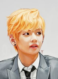 Taehyung (V) by kharys on DeviantArt // this is amazing, im bad at colors so i would most likely use shading pencils to do this