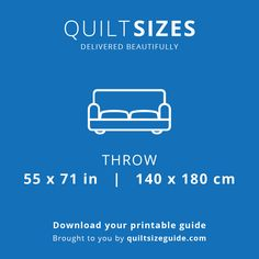 Throw quilt size from the printable quilt size guide - download the PDF from quiltsizeguide.com | common quilt sizes, powered by gireffy.com