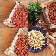 Čerstvé těstoviny s pečenými rajčaty