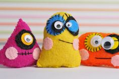 Be my Valentine 3 Cute mini Monster dolls Children's by TodoPapel, $12.50