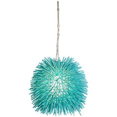 "Varaluz Urchin 9"" Wide Aqua Velvet Mini Pendant Light - Style # 7W942"