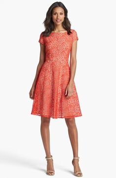 Taylor Dresses Cap Sleeve Lace Fit & Flare Dress | Nordstrom