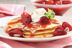 """February Recipe of the Month: Almond Pancakes with Strawberries & Lemon Whipped Cream - perfect brunch for your """"sweetie"""" on Valentine's Day 