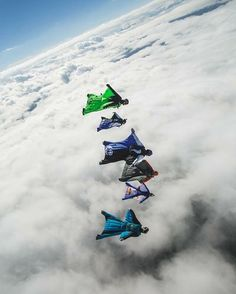 """Jarno Cordia leading a flock of #phoenixfly #wingsuits over a little layer of clouds. Good fun at the tora tora skillscamp at UPCS Hohenems this week.…"""