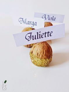 #natalealverde_dettagli glitter noci segnaposto natale - walnuts christmas placeholder table