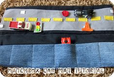 """Cozy Matchbox Car Caddy Mat: DIY tutorial from """"Homemade by Jill"""", (via Six Sisters' Stuff). Six Sisters, Car Carrier, Operation Christmas Child, Matchbox Cars, Car Mats, Busy Bags, Diy Car, Sewing Toys, Sewing Men"""