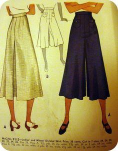 1937 McCall #9112 Culotte Pattern. by myhappysewingplace.com