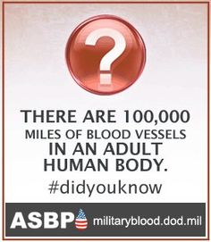 #DYK an adult human body has > 100K miles of #bloodvessels. Will you go the extra mile & #donateblood w/ us today?