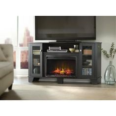 Home Decorators Collection Grand Haven 59 in. Media Console Electric Fireplace in Black-25MM4495-PB84 at The Home Depot