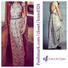 """FREE PEOPLE Floral Dress Cutout Back Printed Maxi Size 6.  New With Tags $350 Retail + Tax.   Floral printed gorgeous nylon maxi dress.  Bodice is lined with a bandeau.    Measurements for Size 6 (garment flat): Length: 60"""" Underarm to Underarm: 18"""" Waist: 14"""" Sleeve: 4.8""""   ❗️ Please - no trades, PP, holds, or Modeling.    Bundle 2+ items for a 20% discount!    Stop by my closet for even more items from this brand!  ✔️ Items are priced to sell, however reasonable offers will be considered…"""