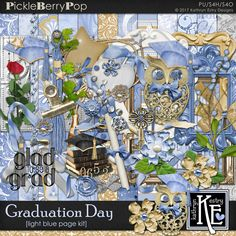 Graduation Day - Light Blue Page Kit :: Coordinates with the entire Graduation Day Digital Scrapbooking Collection by Kathryn Estry @ PickleberryPop  $7.99