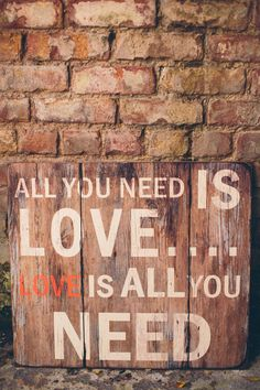love is all you need wedding signage. Read More - http://onefabday.com/elegant-industrial-wedding-photography/