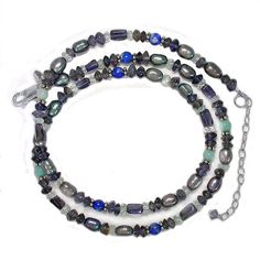 Offerings Sajen 925 Sterling Silver Gray Pearl Lapis Lazuli Iolite Bead Necklace #Sajen #Beaded