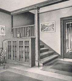 Bungalow Staircase with built in Bookcase and French Doors