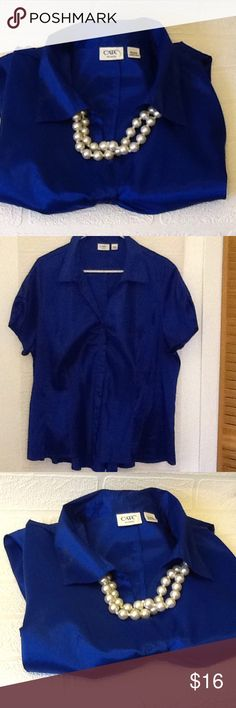 Cato woman 18/20W Royal blue button down top, 97% polyester 3% spandex Cato Tops
