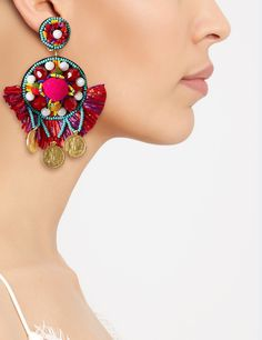 Multi Pom Pom Clip-On Earrings ran Jana khan