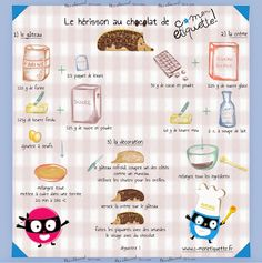 La recette du hérisson au chocolat Cooks Illustrated Recipes, Printable Recipe Cards, Chocolate Fondant, Baking With Kids, Chocolate Lovers, Food Illustrations, Cooking Classes, Tupperware, Food Art