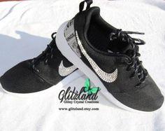 0c7433105b1 Swarovski Nike black Roshe Run with NHL LA Kings Print Heel Customized with  SWAROVSKI® Crystals