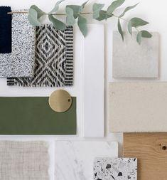 Mood Board Interior, Interior Design Boards, Interior Design Inspiration, Color Inspiration, Moodboard Interior Design, Green Interior Design, Interior Colour Schemes, Material Board, Home Material