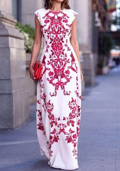 White Red Flowers Print Elegant Chiffon Maxi Dress