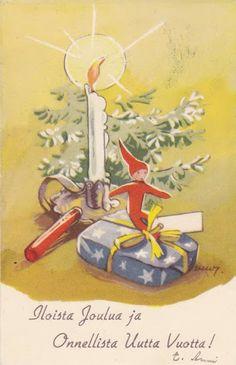 Martta Wendelin Christmas Past, Christmas Candles, Scandinavian Christmas, Christmas Images, Christmas Ornaments, Vintage Christmas Cards, Retro Christmas, Christmas Greeting Cards, Vintage Cards