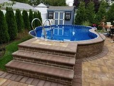 Above ground pools with decks Awesome Photo) - an essential guide for those looking at installing an above ground pool for their home. above ground pool landscaping Above Ground Pool Landscaping, Above Ground Pool Decks, Backyard Pool Landscaping, Above Ground Swimming Pools, In Ground Pools, Landscaping Ideas, Pergola Ideas, Acreage Landscaping, Privacy Landscaping