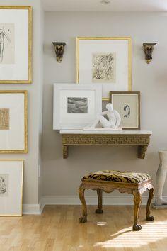 Gallery Walls |  Different organization of art betwen wall and shelf...
