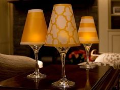 Vellum lamp shades that convert wine glasses into elevated votives. For use with standard size wine glasses. Made in USA. #entertaining