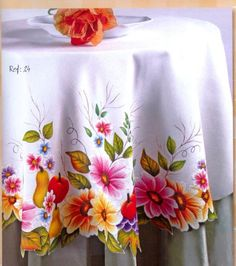 Tole Painting, Fabric Painting, One Stroke Painting, Cheap Tablecloths, Color Mixing Chart, Texture Painting On Canvas, Fabric Paint Designs, Floral Tablecloth, Diy And Crafts