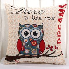 Removable And Washable Cotton Linen Square 14 Style Owl Cushion Pillowcase