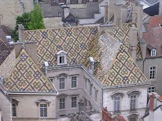 Tile roofs in Dijon Through The Roof, Roof Detail, Roof Architecture, Cities In Europe, Crete, Textures Patterns, Cathedral, Louvre, Weather Vanes