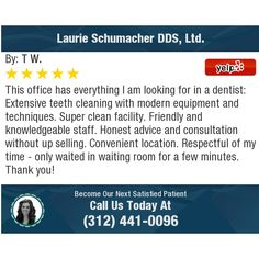 This office has everything I am looking for in a dentist: Extensive teeth cleaning with. Dentist Reviews, Chicago Loop, Teeth Cleaning, My Everything, No Time For Me, Knowledge, Advice, Tooth Brushing, Facts