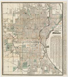Best Vintage Milwaukee Maps Images On Pinterest Maps Cards And - Vintage milwaukee map