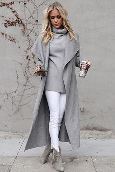 Kristin Cavallari wearing Raye x Stone Cold Fox Janie Boots in Olive and Mackage Mai Long Wrap Wool Coat in Light Grey
