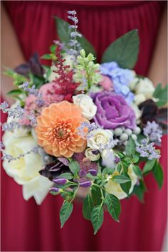 brightly coloured bridesmaid bouquet