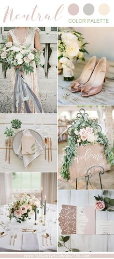 romantic blush and grey garden and backyard wedding color ideas