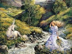 """Unicorn Encounter (zoom 2)"" par Josephine Wall"