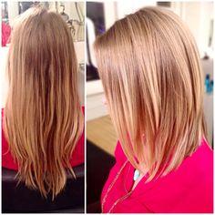 Before and after haircut blonde lob long bob